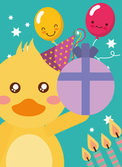 happy birthday card and cute little duck and gift candles vector illustration