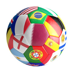 soccer ball qith Qatar France Germany Portugal Spain and more 3d rendering