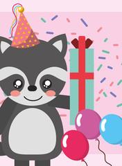 happy birthday card and cute little raccoon gift balloons vector illustration