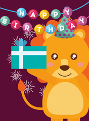 happy birthday card and cute little lion and gift vector illustration