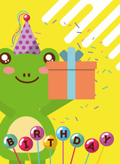 happy birthday card and cute little frog and gift balloons vector illustration