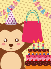 happy birthday card and cute little monkey and gift vector illustration