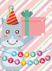 happy birthday card and cute little hippo and gift vector illustration