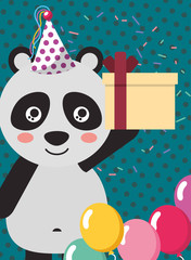 happy birthday card and cute little panda and gift vector illustration