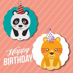 cute happy birthday card funny panda and tiger vector illustration