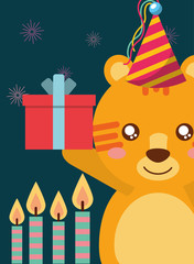 happy birthday card and cute little tiger and gift vector illustration