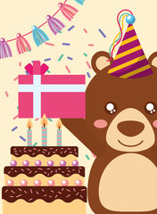happy birthday card and cute little bear gift and cake vector illustration