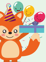 happy birthday card and cute little fox and gift balloons vector illustration