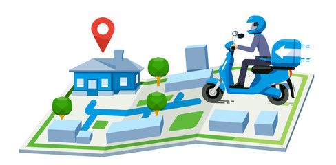 Fast delivery parcel by motorbike in map. Finding service the right destination.