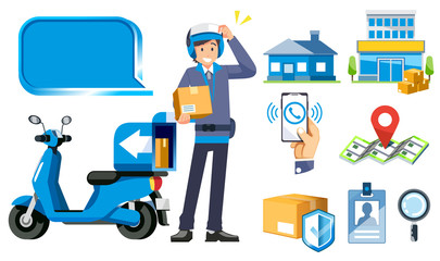 Fast address search for a parcel by motorcycle delivery service. Confidence in the work of the staff.