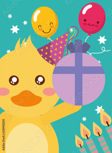Happy Birthday Card And Cute Little Duck And Gift Candles Vector