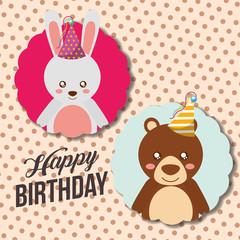 cute happy birthday card funny rabbit and bear vector illustration
