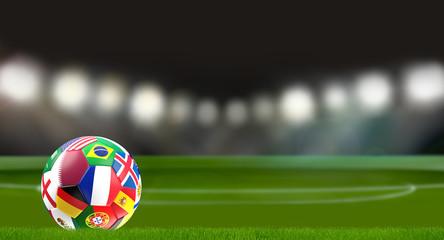 Qatar flag soccer ball in soccer stadium 3d rendering