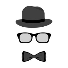 Men accessories. Hat, glasses and bow ties. Vector flat design illustration.