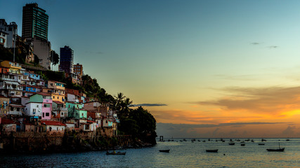 Photo sur Aluminium Brésil Salvador Bahia Brazil 02/27/2016 sunset paradise and boats