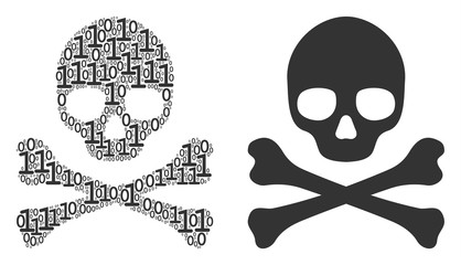Death skull mosaic icon of zero and null digits in random sizes. Vector digital symbols are arranged into death skull collage design concept.