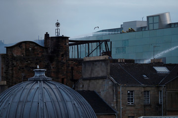 Firefighters attend to a blaze at the Mackintosh Building at the Glasgow School of Art, which is the second time in four years, Glasgow