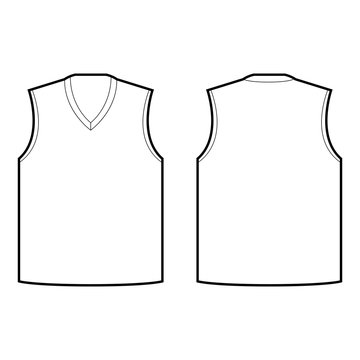 front sleeveless jersey and back sleeveless jersey vector