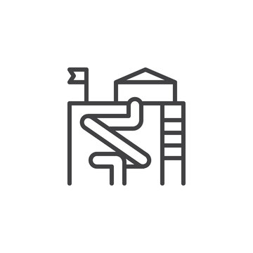 Water park slides outline icon. linear style sign for mobile concept and web design. Water attractions simple line vector icon. Symbol, logo illustration. Pixel perfect vector graphics