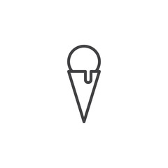 Ice cream cone outline icon. linear style sign for mobile concept and web design. Waffle ice cream simple line vector icon. Symbol, logo illustration. Pixel perfect vector graphics