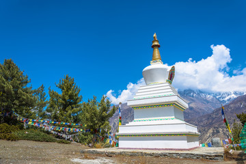 Beautiful stone stupa in the Himalayas, Nepal.