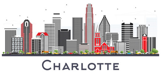 Charlotte NC City Skyline with Gray Buildings Isolated on White. Wall mural