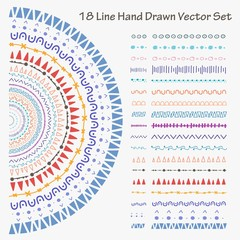 18 Line Hand Drawn Vector Set. Handmade Vector Illustration.