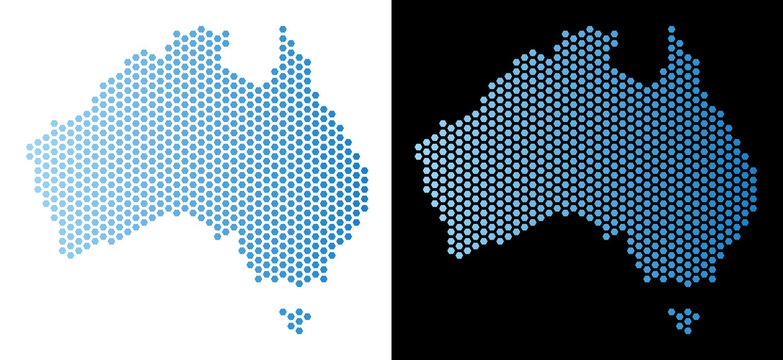 Honeycomb Australia map. Vector geographic scheme in light blue color with horizontal gradient on white and black backgrounds. Abstract Australia map concept is designed with hexagon pixels.