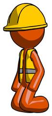 Orange Construction Worker Contractor Man kneeling angle view left