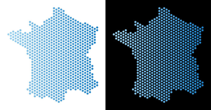 Honeycomb France map. Vector geographic scheme in light blue color with horizontal gradient on white and black backgrounds. Abstract France map composition is formed from hexagonal dots.