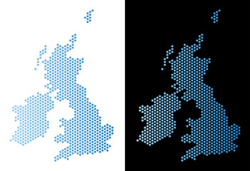 Hex Tile Great Britain and Ireland map. Vector territory scheme in light blue color with horizontal gradient on white and black backgrounds. Wall mural