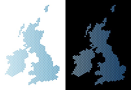 Hex Tile Great Britain and Ireland map. Vector territory scheme in light blue color with horizontal gradient on white and black backgrounds.