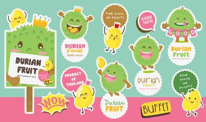 Cute Durian Vector 5 / Cute Durian Vector Packaging Design labels / Mascot Vector Design