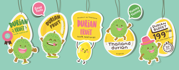 Cute Durian Vector 7 / Cute Durian Vector Packaging Design labels / Mascot Vector Design