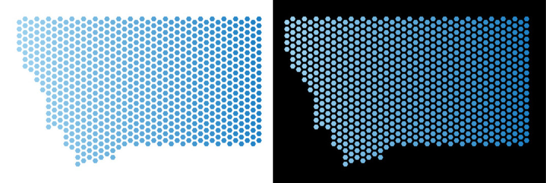 Hex-Tile Montana State map. Vector geographic plan in light blue color with horizontal gradient on white and black backgrounds. Abstract Montana State map mosaic is created from hex tile items.
