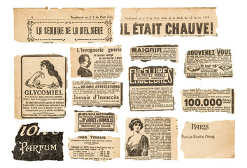 Newspaper pieces vintage advertising French magazine pages