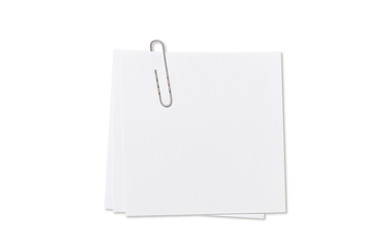 White empty paper sheet paperclip