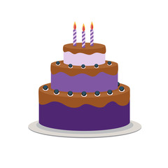 Birthday Cake Flat Icon for Your Design, Vector Illustration