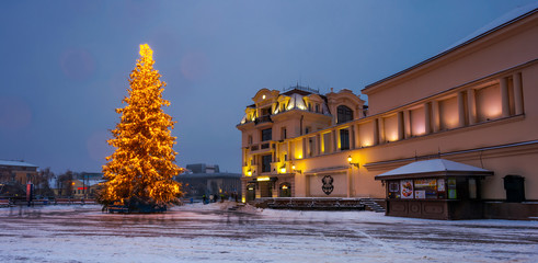 Christmas tree in the city center. Lovely postcard of Uzhgorod, Ukraine