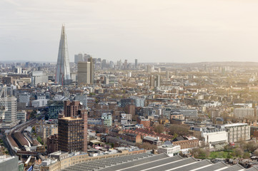 Aerial view of cityscape and skyline of London with the Shard, tallest building in UK and Europe, iconic architectural landmarks of London, England, United Kingdom