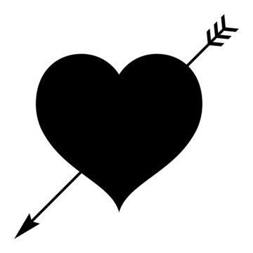 A black and white silhouette of a love heart with an arrow through it