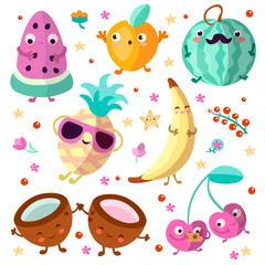 Happy cartooning fruits vector illustration. Set of tropical childish fruit, relaxing and happy, isolated on white background. Tropical fruits collection with happy and joy cartoon emotions