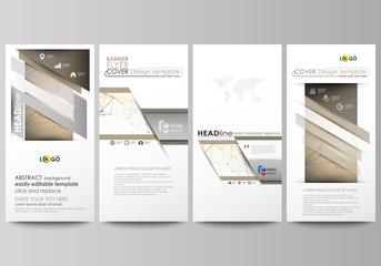 Flyers set, modern banners. Business templates. Cover design template, abstract vector layouts. Technology, science, medical concept. Golden dots and lines, cybernetic digital style. Lines plexus.