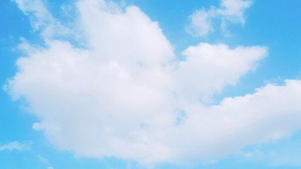 Many big clouds and azure sky background.The atmosphere in the blue sky with copy space .The weather is clear today.meteorology