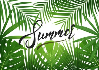 Summer. Tropical background with exotic palnts. Banner for summer sale, promotion, party events