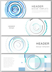 The minimalistic vector illustration of the editable layout of headers, banner design templates with simple geometric background made from dots, circles, rectangles