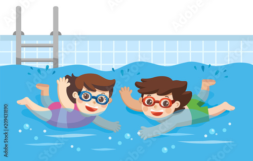"""""""Cheerful and active little Boy and Girl swimming in the ...  Little"""