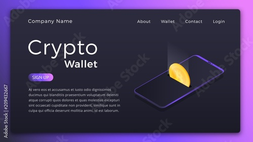 Cryptocurrency Wallet Isometric Illustration Of Mobile Storage App Concept Online Landing Page