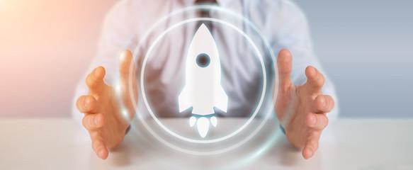 Businessman using startup digital interface 3D rendering