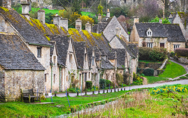 Cotswold stone cottages in Bibury, England